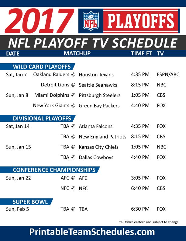 NFL Playoff TV Schedule 2017 Print Here - http://printableteamschedules.com/NFL/playoffs.php