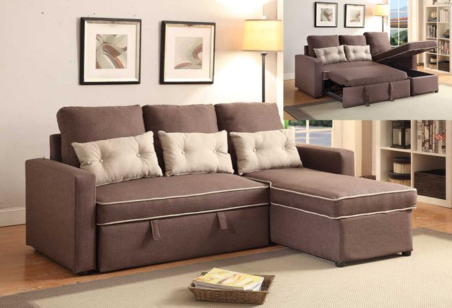 "2 pc Sarah collection 2 tone dark brown faux linen fabric upholstered sectional sofa with sleeper.  This set features a pull out platform with pop up sleeping area and storage underneath the chaise.  Measures 77"" x 56 1/4"" L Chaise x 32 1/4"" D x 33"" H.  Some assembly required."