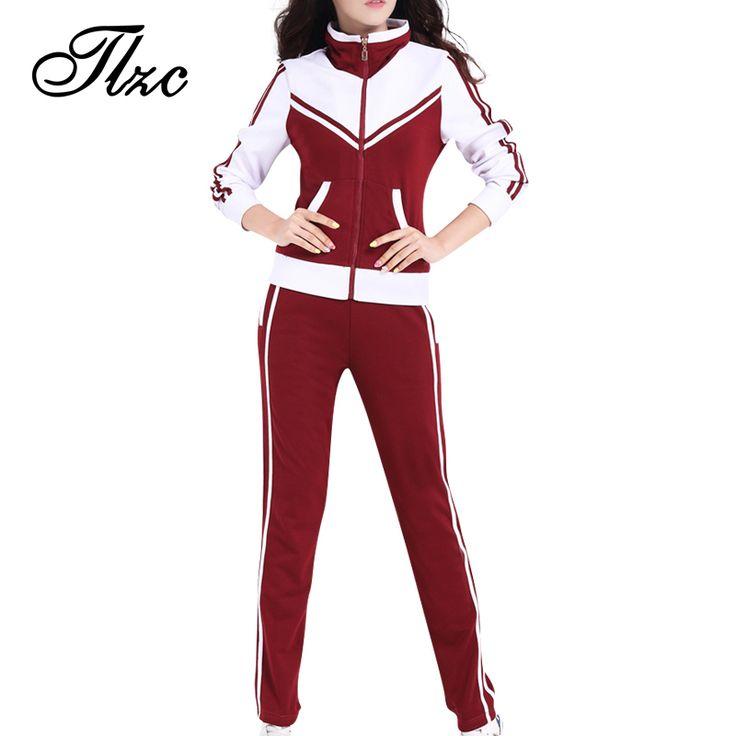 TLZC Mandarin Collar Lady Popular Sportswear 2 Pieces Set Coat + Trouser Plus Size L-5XL Patchwork Style Women Casual Tracksuits