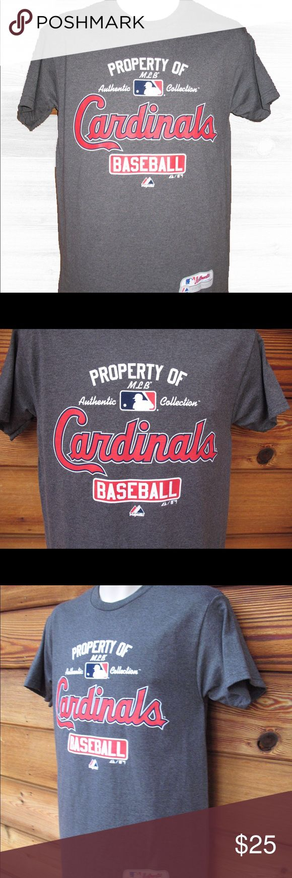 "🆕 St Louis Cardinals MLB T-Shirt Tee- M St Louis Cardinals MLB T-Shirt, Size Medium, New With Tags  Details: Majestic Color: Dark Heather Gray Size: M 50% Cotton/50% Polyester Machine Wash  Measurements: Length: 29"" Chest: 38"" Waist: 38"" Majestic Shirts Tees - Short Sleeve"
