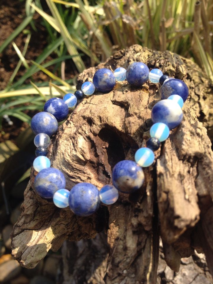 Cute blue jasper and opal ire bead bracelet. Wear it on its own or with other complimentary bracelets. #LoveByLou