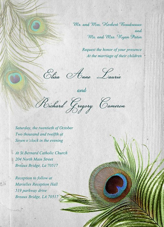 Peacock Wedding Invitation Set Peacock Feather