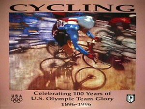 USOC Olympic Cycling Poster - Atlanta 1996 - Bernie Fuchs ~ Available at www.sportsposterwarehouse.com