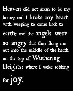 Wuthering Heights ~ Emily Bronte. I get a strange sensation of joy and sadness whenever I read this quote- Atropabelladonna XX
