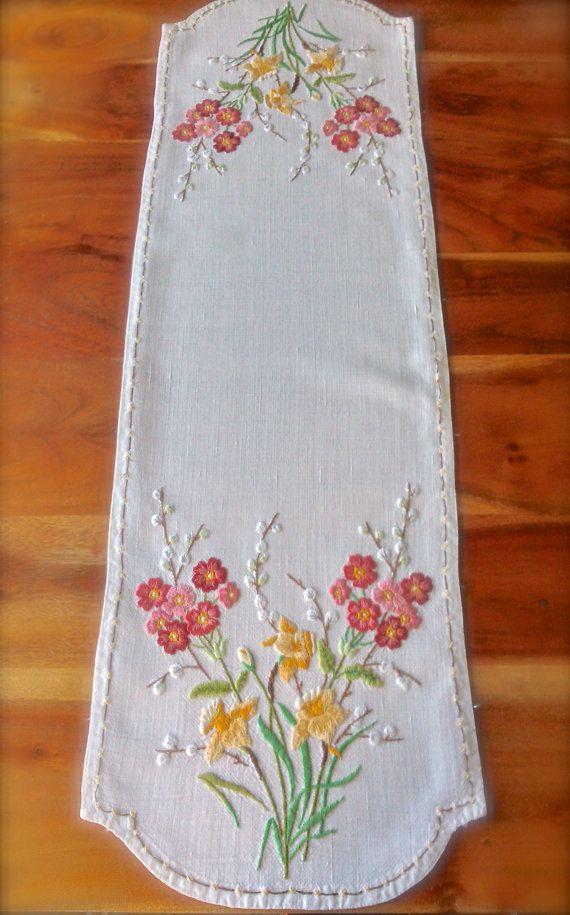 Beautiful Raised Hand Embroidered Vintage by GardenOfCrinoline