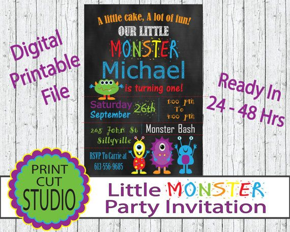 Little Monster Party Invitation Personalized by PrintCutStudio