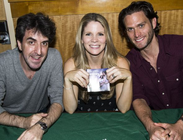 Jason Robert Brown, Kelli O'Hara and Steven Pasquale show off the BRIDGES OF MADISON COUNTY original Broadway cast recording. (© David Gordon)