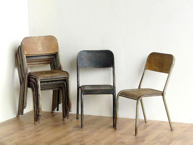 Metal Vintage School Chairs