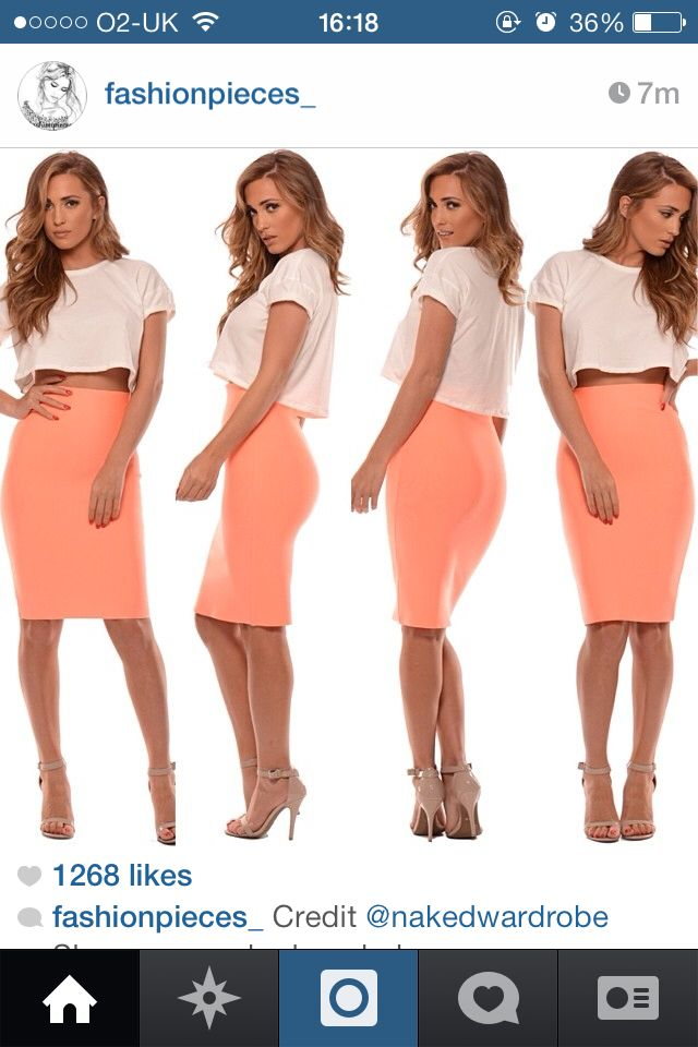 Crop top with coral pencil skirt. X | My Curvy Girl Style ...