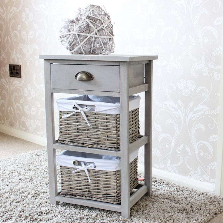 Vintage Grey Range One Drawer With Two Wicker Baskets
