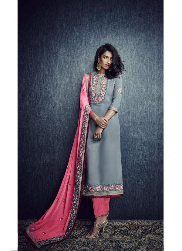 Grey and Pink Georgette Salwar Kameez