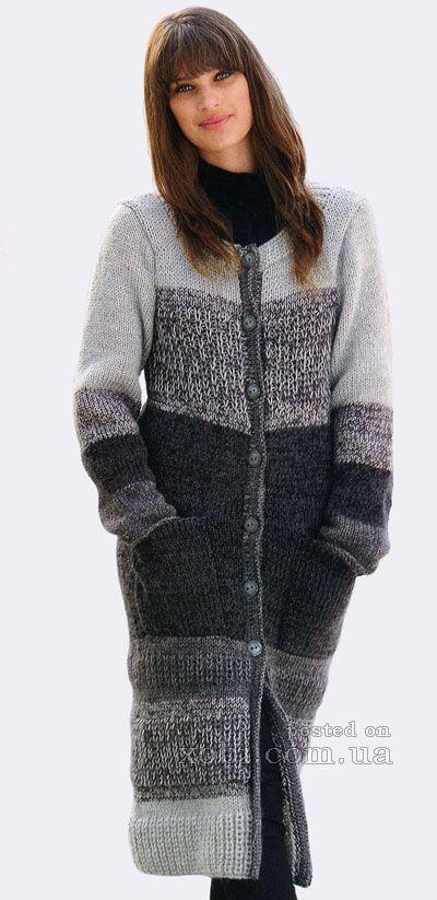 пальто в полоску  вязаное спицами