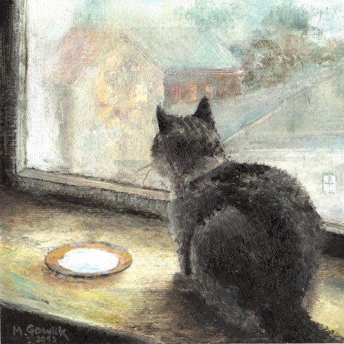 CAT on a Windowsill,  Fine Art GICLEE PRINT after an original painting by Milena Gawlik