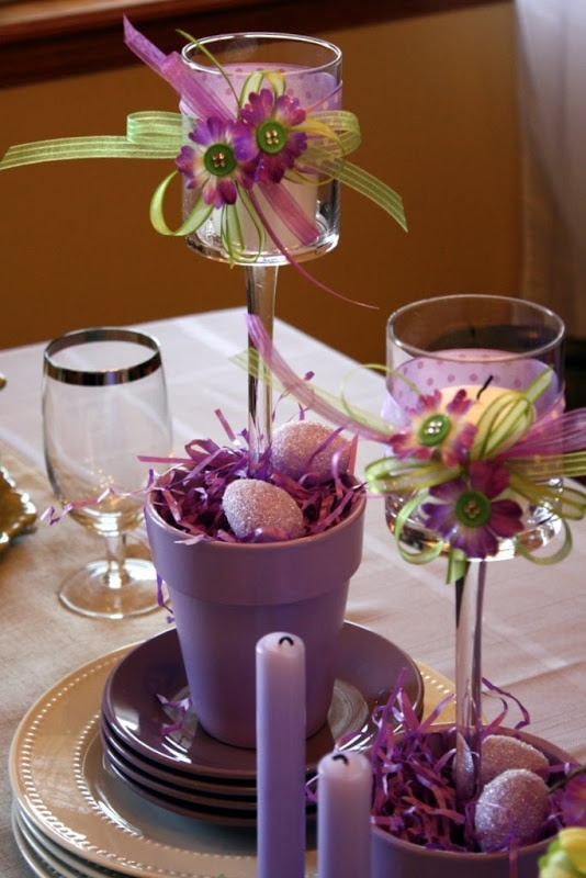 Get out the paint, ribbons, flowers with added buttons, Easter grass and eggs, to create these candleholders.