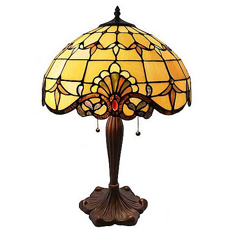 """472-425 - Tiffany-Style  23.75"""" Allistar  Stained Glass  Table Lamp"""