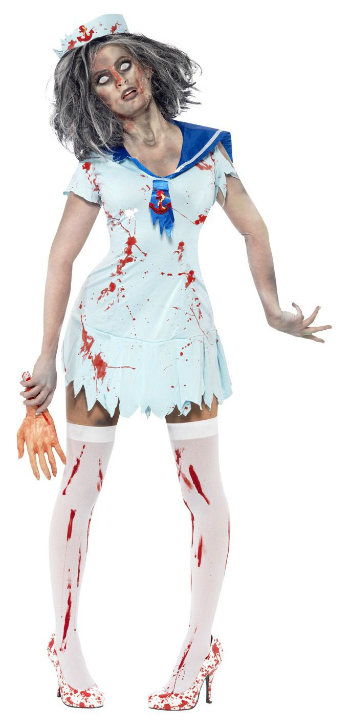 Zombie Sailor Costume, Includes; Dress, Neckerchief and Hat. #Halloween #Fancy #Dress #Costume #Womens #Ladies #Outfit #Sailor #Zombie