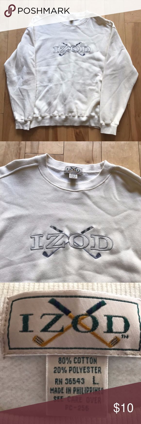 VTG IZOD GOLF EMBROIDERED CREWNECK MEN'S SIZE L Details: Brand new condition! No stains or holes! Cream crewneck. Izod Golf big logo embroidered on front.  Measurements: Pit-to-pit: 23 inches. Sleeves: 24 inches. Back Length: 28 inches.  *Ships from US.  *Same or next day shipping.  *First-Class US shipping (delivery in 1 to 3 business days).  *First-Class International shipping (delivery in 7 to 21 business days).  *Tracking # supplied after payment.  FEEL FREE TO MESSAGE ME FOR ANY ITEM…