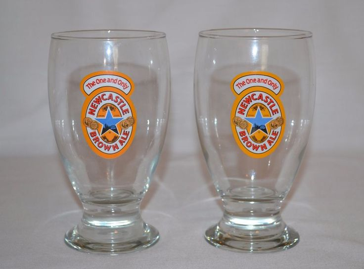 """2 Newcastle Brown Ale Schooner Pint Beer Glasses 16 oz """"The One and Only"""" #NewcastleBrownAle"""
