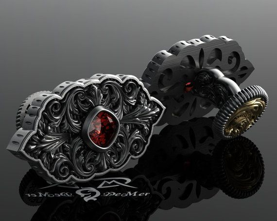 9acd8f8098ef Engraved cuff links with blood red garnet. 14kt European gold and 925  English Sterling. Large ornate damask steampunk gothic victorian mens