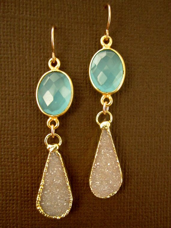 love these: Pretty Earrings, Beautiful Earrings, Sand Druzy, Drop Earrings, Color, Jewelry, Sparkle, Aqua Chalcedony, Ancillary