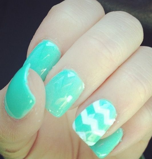 These nails are really cute! They may look complicated but if u use a small brush when you are painting the chevron it will look great!