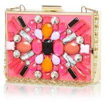 River Island Pink embellished box clutch bag on shopstyle.co.uk