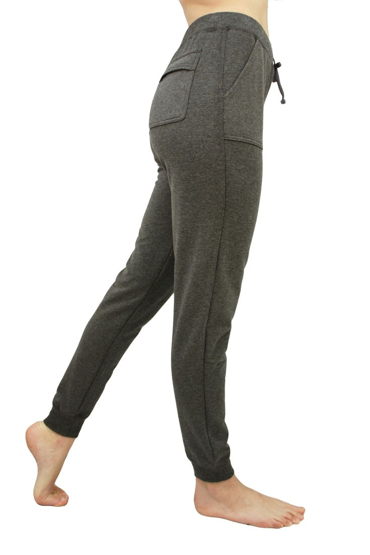 Fleece made from bamboo? Yes! J76 BambooWear Fleece Pant in Charcoal Grey and Purple Plum