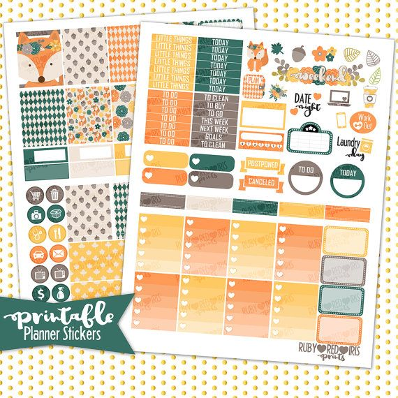 Printable planner stickers for fall. Cute foxes!