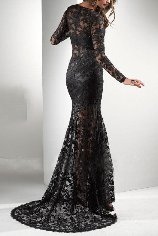 Black Lace Formal Dress Lace Evening Dress Black by LUXandGLAMOR