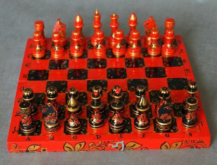 Купить Шахматы деревянные классические Хохлома-красное золото - шахматы, оригинальный подарок, подарок ребенку
