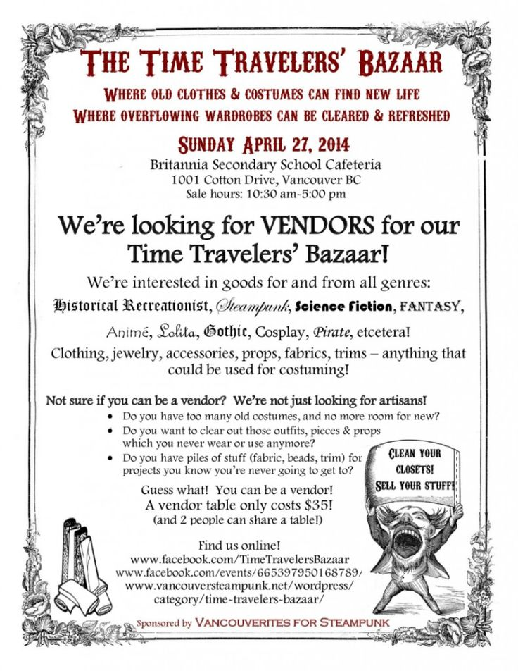 Time Travelers' #Bazaar ~~~ Vancouver's Only #Costumers' #Market & Rummage Sale ~~~ SUNDAY APRIL 27/14 ~ 10:30am to 5:00 pm ~~~ Britannia Secondary School Cafeteria ~~~ 1001 Cotton Drive, Vancouver BC #steampunk #goth #medieval #victorian #cosplay #yvr