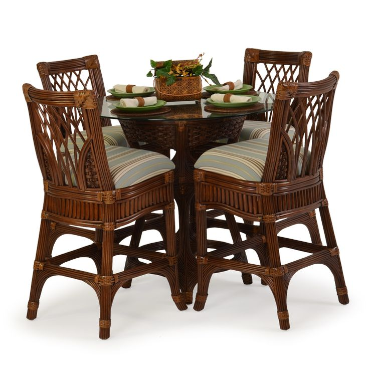 Island Way Rattan 5 Piece Bar Height Set   Leaders Casual Furniture