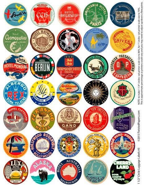 35 LUGGAGE LABELS, 1.5 inch Circles (Can adjust to be 1 or 1.25 inch.) Vintage Worldwide - American Travel Stickers, Instant Download 003.