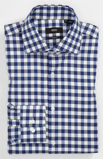 Complete a smart-casual look with a richly textured, cutaway-collar dress shirt. Color(s): blue. Brand: BOSS Black. Style Name: BOSS Black Sharp Fit Dress Shirt. Style Number: 608575.... More Details