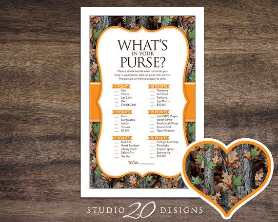 Instant Download Camo What's In Your Purse Game, Realistic Hunter Orange Camo Baby Shower Games, Printable Camouflage Theme Purse Game 31E