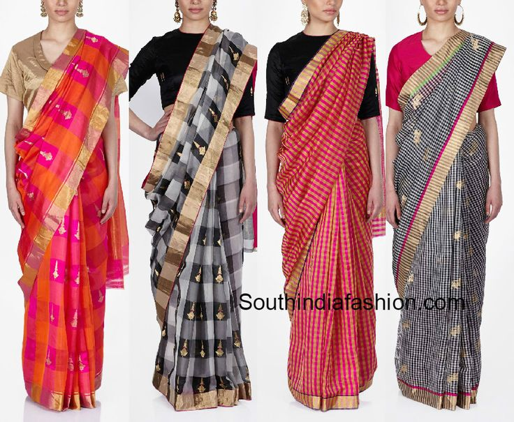 Elegant Checked Raw Mango Sarees