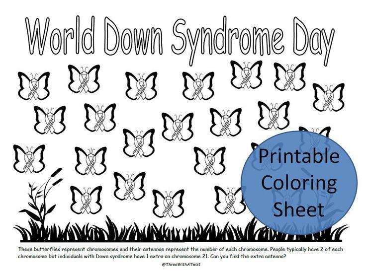 Down Syndrome Awareness printable coloring sheet.