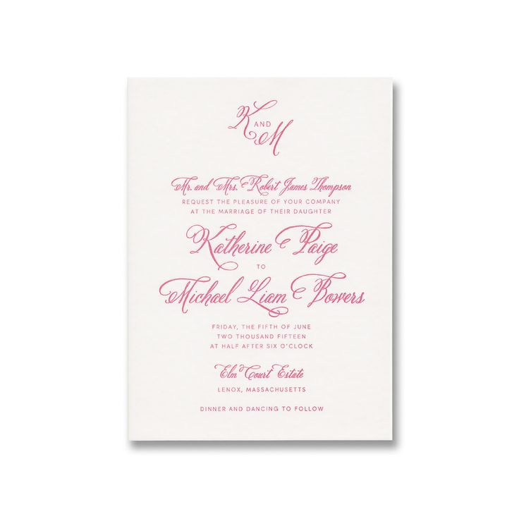 Letterpress invitation on Lettra paper with watermelon ink.