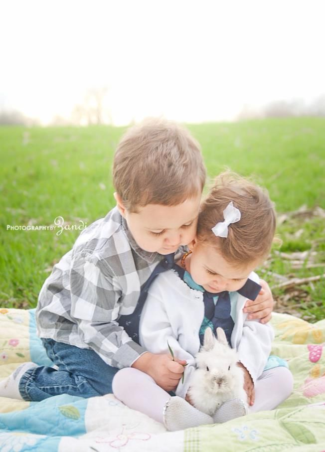 brother and sister with the easter bunny.   #easter #photography #ncphotographer #siblings #babies #children