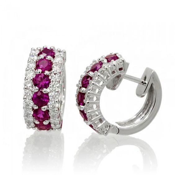 Ruby earrings 1/2 inch hoop diamond huggies 18k white gold
