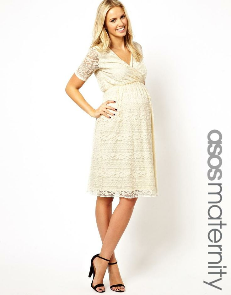 ASOS Maternity   ASOS Maternity Exclusive Lace Midi Dress With Wrap Front at ASOS