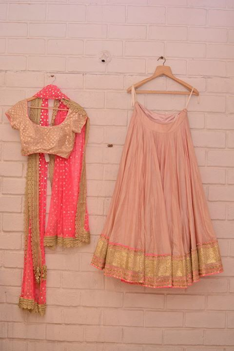 Abhinav Mishra - Pastel pink & gold lehenga with neon pink dupatta - Abhinav Mishra - Best Shahpur Jat boutique designer for bridal wear