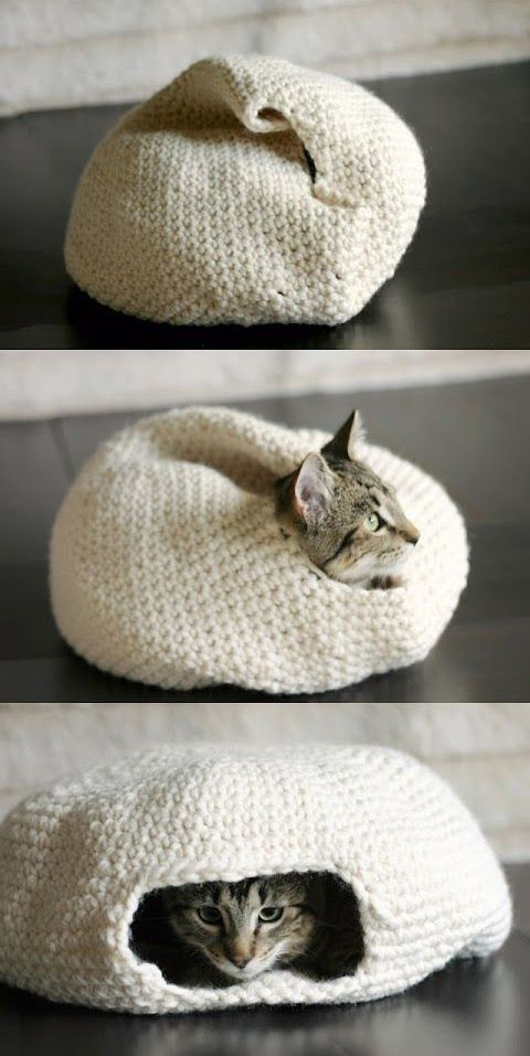 Grab your crochet hook and make one of these snuggly homes for your little kitties. They'll love hiding and sleeping in these!
