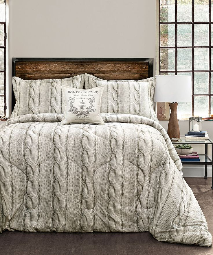 Gray Cable Knit Printed Four-Piece Comforter Set