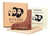 BORODA Beard and Mustache Wooden Shaping Tool & Comb Beard Styling & Styler Template Wood Beard Trimmer for Perfect Lines Detailed Beard Styling Guide & PREMIUM Packaging Kit Set for Men Best Gift