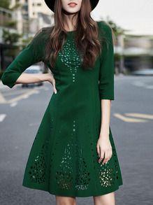 Vestito traforato linea ad A verde scuro