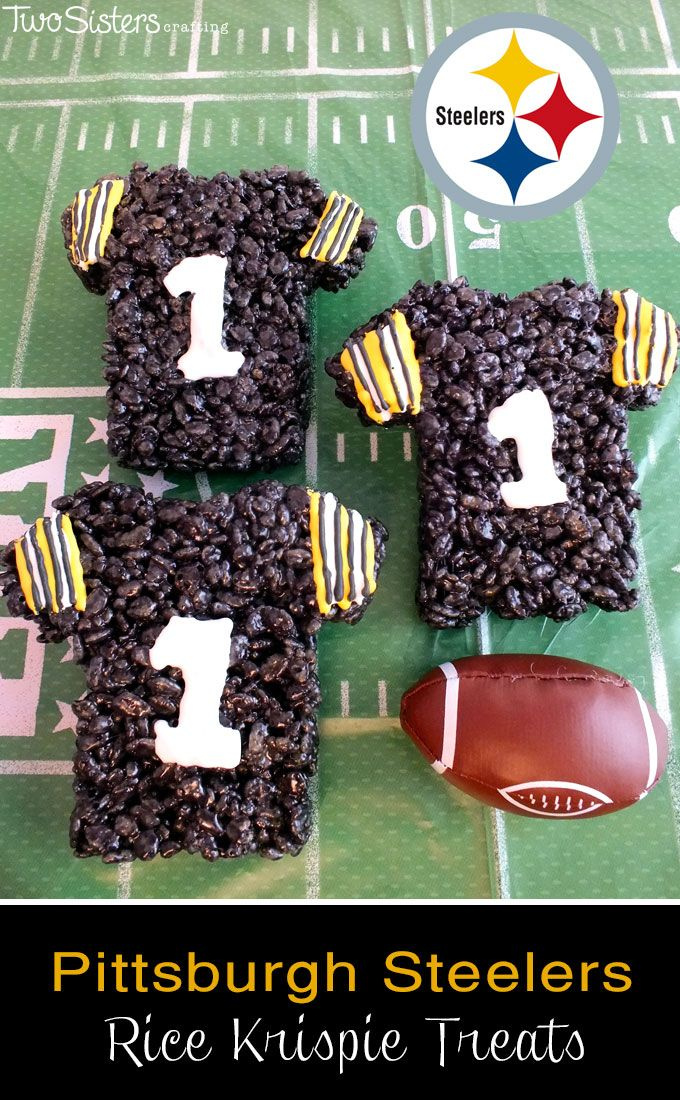 These Pittsburgh Steelers Rice Krispie Treats Team Jerseys are a fun dessert for a game day football party, an NFL playoff party, a Super Bowl party food or as an special snack for the  Pittsburgh Steeler's fans in your life.  For more fun Rice Krispie Treats ideas follow us at http://www.pinterest.com/2SistersCraft/