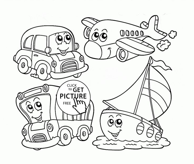 Cute Cartoon Transportation coloring