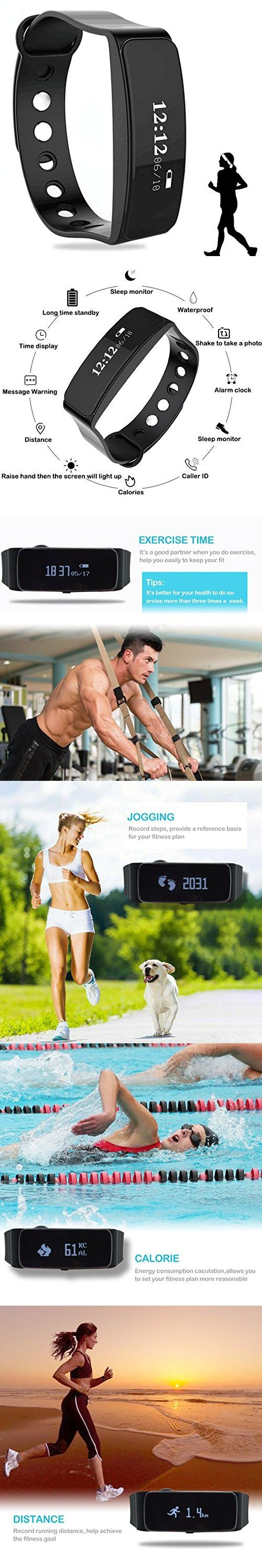 Fitness Tracker, 2017 Updated Waterproof Smart Watch, Bluetooth Smart Fitness Tracker Armband | Wristband | Bracelet and Free iOS Android APP (Standard)