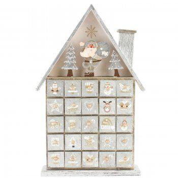 Gold & Silver Wooden Santas House Advent Calendar